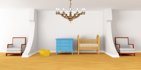 chandelier  kids: Baby bedroom with a crib.