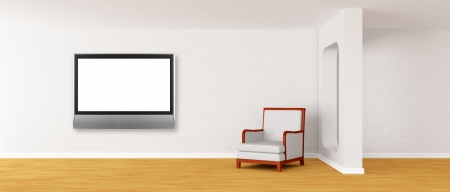 white armchair with lcd tv in modern minimalist interior  photo