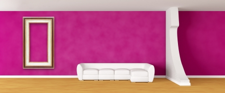 Purple gallerys hall with white sofa and frame photo