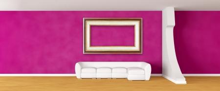 Purple gallerys hall with white sofa Stock Photo