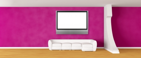 Purple gallery's hall with white sofa and silver tv   photo