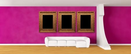 Purple gallerys hall with white sofa photo