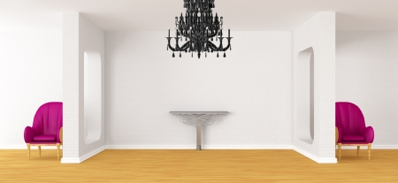 Gallerys hall with chairs, metallic table and black chandelier photo