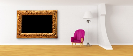 Purple armchair with standard lamp and ornate frame in modern minimalist inter Stock Photo - 13708989