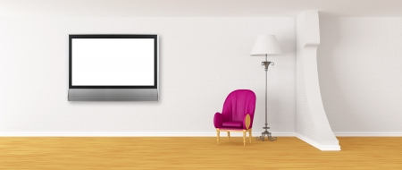 Purple armchair with standard lamp and lcd tv in modern minimalist interior photo