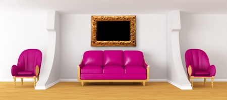 living room with purple couch, ornate frame and chairs   photo
