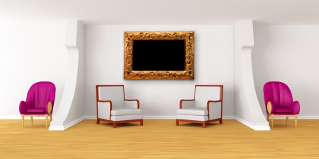 Modern room with luxuus armchairs and ornate frame Stock Photo - 13709058