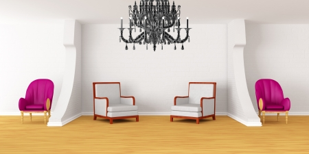 Modern room with luxurious armchairs and black chandelier Stock Photo - 13709081