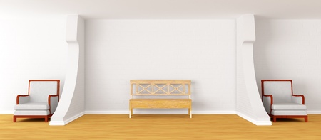 gallerys hall with bench and chairs photo
