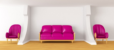 living room with purple couch and chairs photo