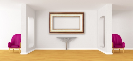 Gallerys hall with chairs and metallic table  photo