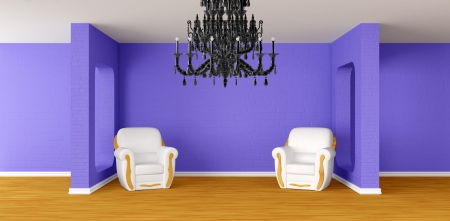 Modern room with luxurious armchairs and black chandelier   photo