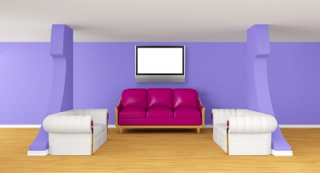 gallery's hall with luxurious sofas with lcd tv   photo