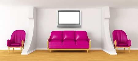 living room with purple couch, lcd tv and chairs   photo