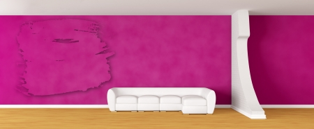 Purple gallery's hall with white sofa and splash Stock Photo - 13708869