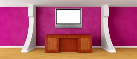 Modern purple reception with flat TV Stock Photo - 13708930