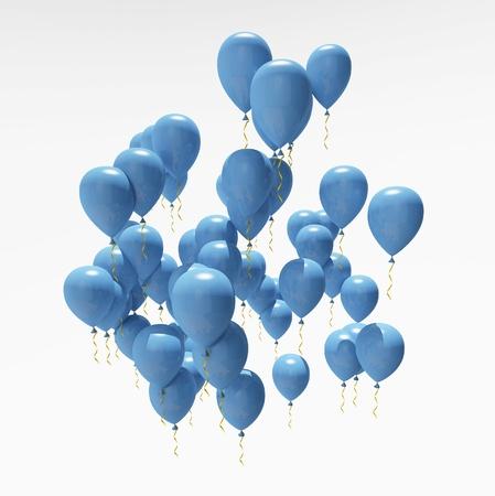 globos fiesta: globos azules del partido Foto de archivo
