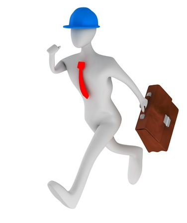 3d architect running with briefcase isolated on white   photo