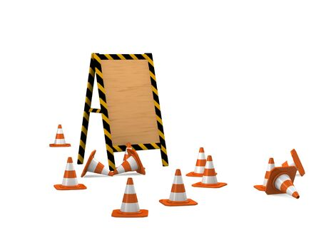 under construction. wooden board with traffic cones.   photo