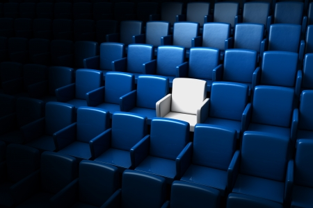 attend: auditorium with one reserved seat   Stock Photo