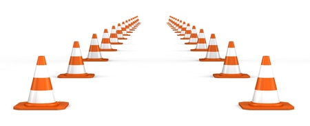 obstacle course: way of traffic cones on white background