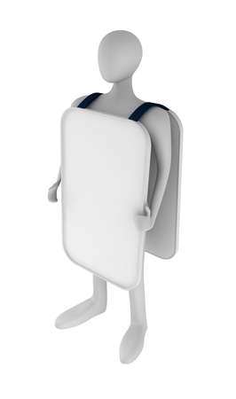 3d person holding a blank board Stock Photo - 13708591