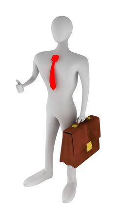 3D business man with thumbs up photo