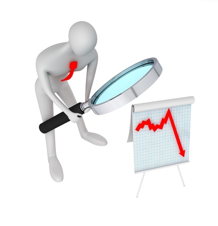 Businessman with a magnifier and diagram of crisis Stock Photo - 13708708