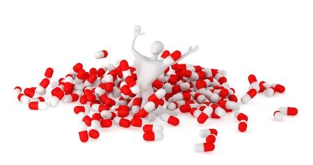 happy 3d man among pills Stock Photo - 13708796