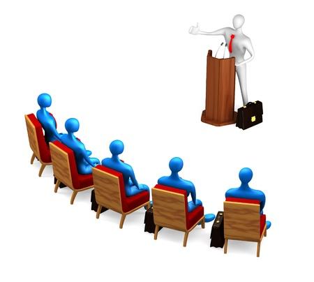 hablar en publico: 3 � persona habla desde una tribuna