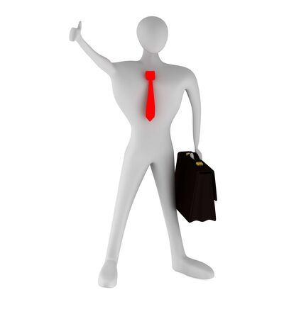 3D businessman with thumbs up   photo