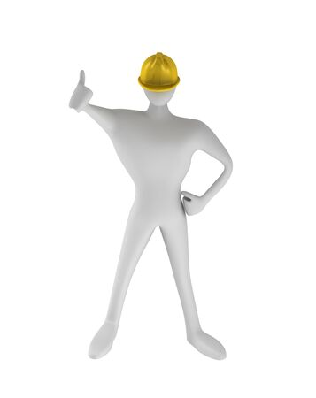 under construction sign with man: 3D construction worker with thumbs up   Stock Photo