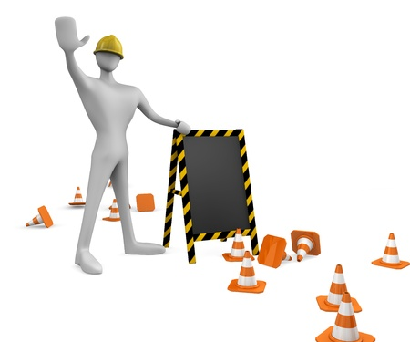 3d construction worker with traffic cones and empty board photo