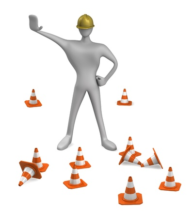 3d construction worker with traffic cones photo