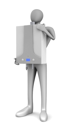 gas boiler: Person with gas boiler isolated over white   Stock Photo