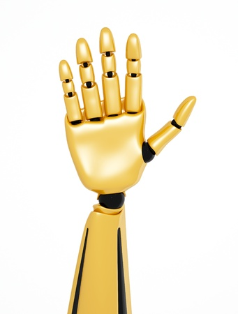 hello  Golden 3d robotic hand showing number five photo