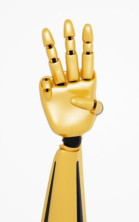 Golden 3d robotic hand showing number three photo