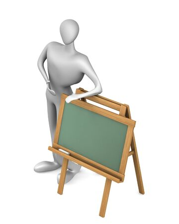 man with blank chalkboard isolated on white   photo