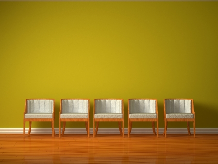 partment: Row of five chairs in green interior Stock Photo