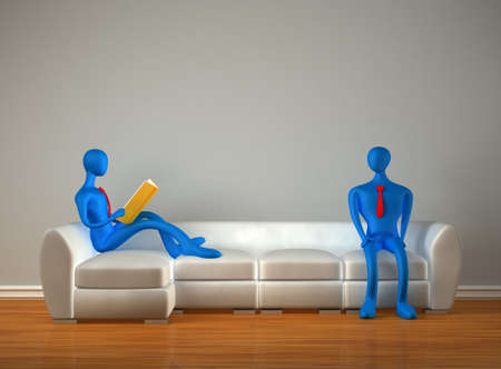 3d persons in the modern interior photo