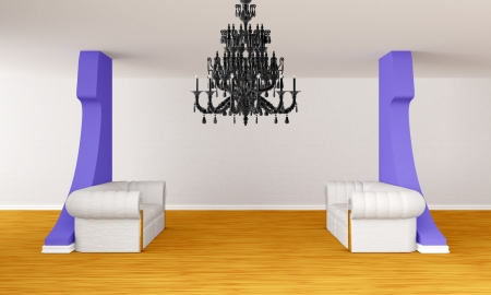 gallery's hall with luxurious sofas and luxurious chandelier photo
