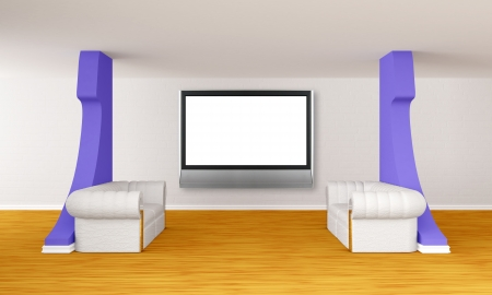 gallerys hall with luxurious sofas and lcd tv photo