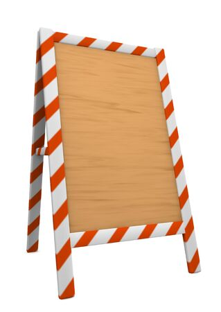 under construction. wooden board. photo