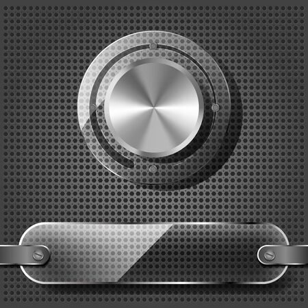 Chrome volume knob with transparency plate on the metallic background  Stock Vector - 14453498