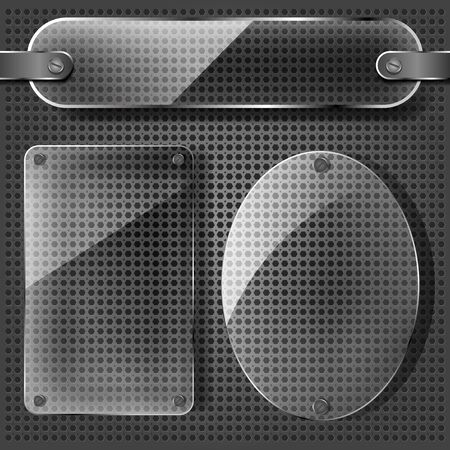 transparency plates on the metallic background Vector