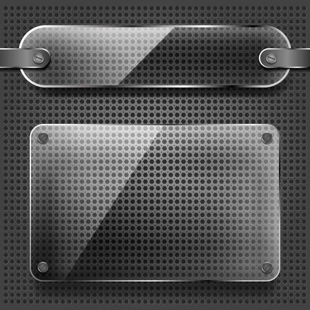 transparency: transparency glass plates on the metallic background Illustration
