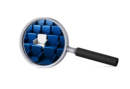 reserved seat: auditorium with one reserved seat in the magnifier 3d icon Stock Photo