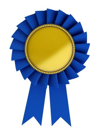 remise de prix: 3d illustration de ruban bleu sur fond blanc Banque d'images