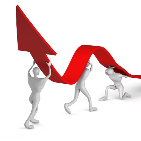 initiatives: 3d persons turning the arrow on the upside Stock Photo