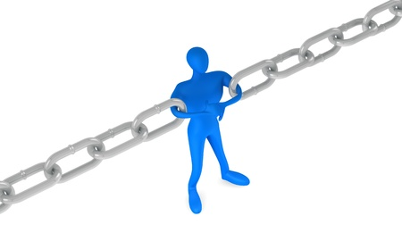 broken unity: 3d man holding a chain together